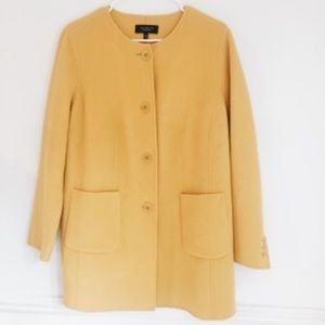 TALBOTS yellow wool pea coat with pockets